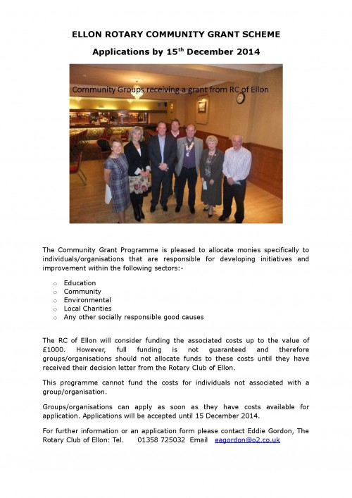Ellon Rotary Community Grant 2014-15-001