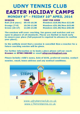 UTC Easter Holiday Camps 2015-001