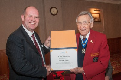 Norman Cooper with Donny Chisholm 50 Years in Rotary